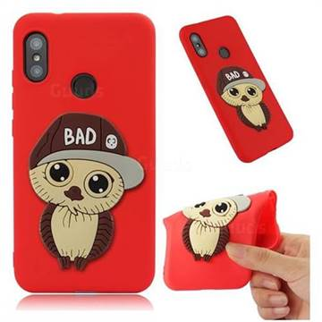 Bad Boy Owl Soft 3D Silicone Case for Xiaomi Mi A2 Lite (Redmi 6 Pro) - Red
