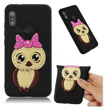 Bowknot Girl Owl Soft 3D Silicone Case for Xiaomi Mi A2 Lite (Redmi 6 Pro) - Black
