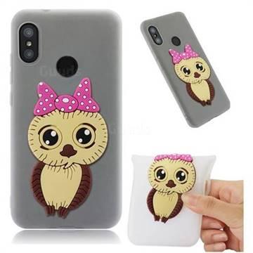 Bowknot Girl Owl Soft 3D Silicone Case for Xiaomi Mi A2 Lite (Redmi 6 Pro) - Translucent White