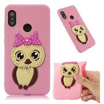 Bowknot Girl Owl Soft 3D Silicone Case for Xiaomi Mi A2 Lite (Redmi 6 Pro) - Pink