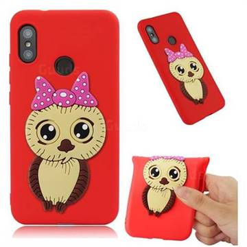 Bowknot Girl Owl Soft 3D Silicone Case for Xiaomi Mi A2 Lite (Redmi 6 Pro) - Red