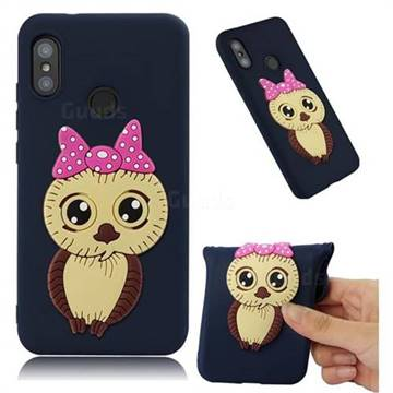 Bowknot Girl Owl Soft 3D Silicone Case for Xiaomi Mi A2 Lite (Redmi 6 Pro) - Navy