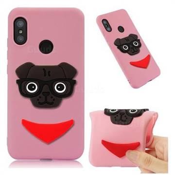 Glasses Dog Soft 3D Silicone Case for Xiaomi Mi A2 Lite (Redmi 6 Pro) - Pink