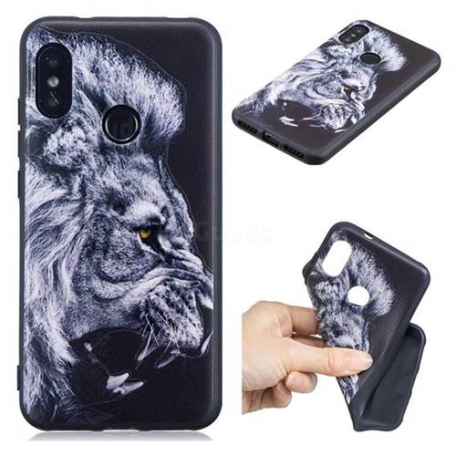 Lion 3D Embossed Relief Black TPU Cell Phone Back Cover for Xiaomi Mi A2 Lite (Redmi 6 Pro)