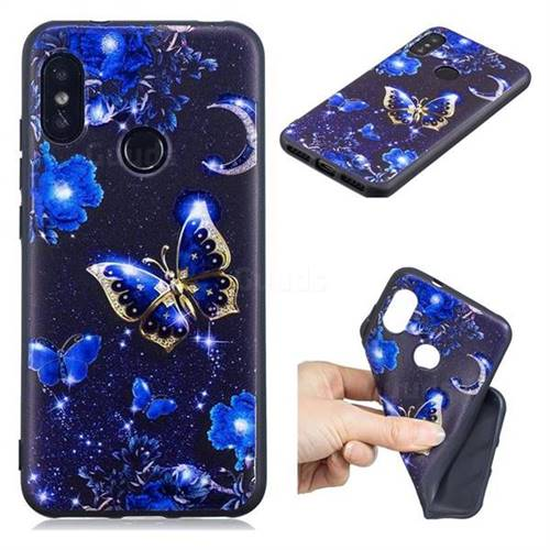 Phnom Penh Butterfly 3D Embossed Relief Black TPU Cell Phone Back Cover for Xiaomi Mi A2 Lite (Redmi 6 Pro)