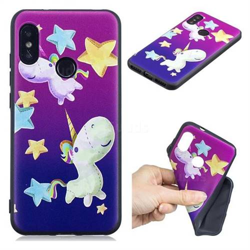 Pony 3D Embossed Relief Black TPU Cell Phone Back Cover for Xiaomi Mi A2 Lite (Redmi 6 Pro)