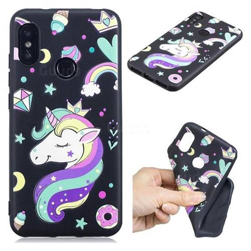 Candy Unicorn 3D Embossed Relief Black TPU Cell Phone Back Cover for Xiaomi Mi A2 Lite (Redmi 6 Pro)