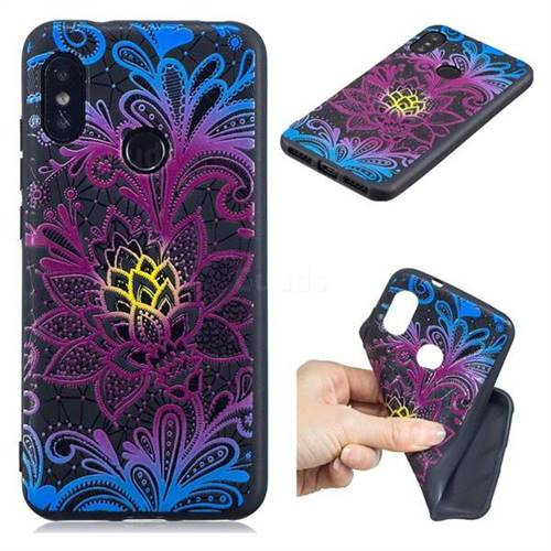 Colorful Lace 3D Embossed Relief Black TPU Cell Phone Back Cover for Xiaomi Mi A2 Lite (Redmi 6 Pro)