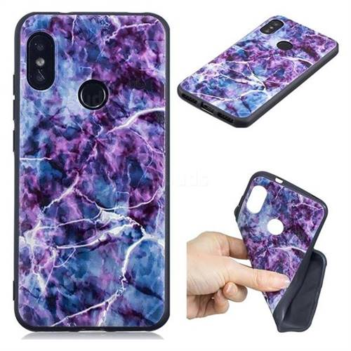 Marble 3D Embossed Relief Black TPU Cell Phone Back Cover for Xiaomi Mi A2 Lite (Redmi 6 Pro)