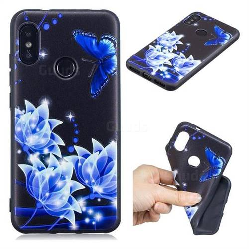 Blue Butterfly 3D Embossed Relief Black TPU Cell Phone Back Cover for Xiaomi Mi A2 Lite (Redmi 6 Pro)