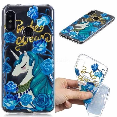 Blue Flower Unicorn Clear Varnish Soft Phone Back Cover for Xiaomi Mi A2 Lite (Redmi 6 Pro)