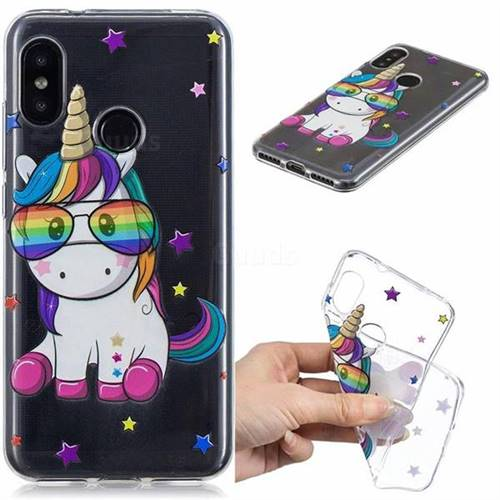 Glasses Unicorn Clear Varnish Soft Phone Back Cover for Xiaomi Mi A2 Lite (Redmi 6 Pro)
