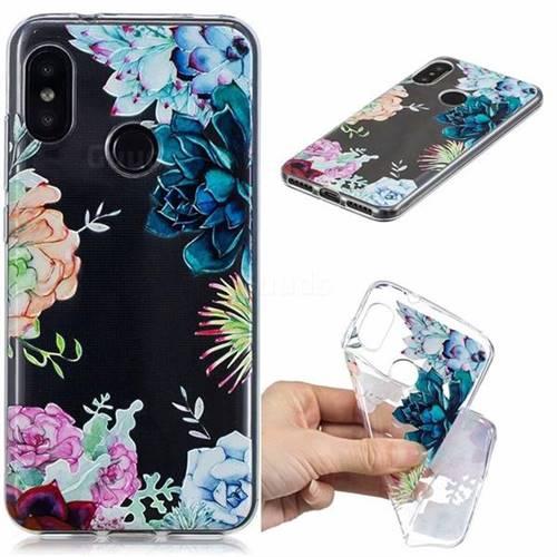 Gem Flower Clear Varnish Soft Phone Back Cover for Xiaomi Mi A2 Lite (Redmi 6 Pro)