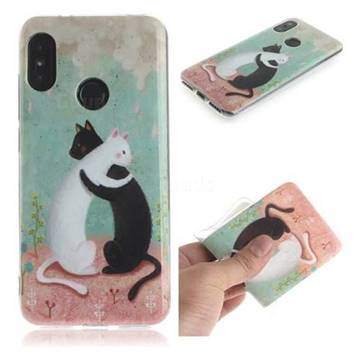 Black and White Cat IMD Soft TPU Cell Phone Back Cover for Xiaomi Mi A2 Lite (Redmi 6 Pro)