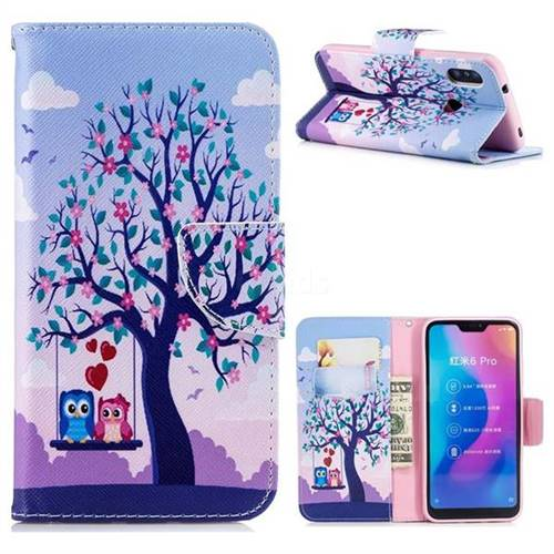 Tree and Owls Leather Wallet Case for Xiaomi Mi A2 Lite (Redmi 6 Pro)