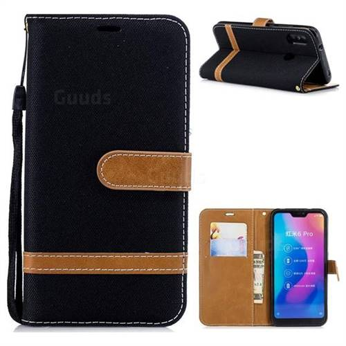 Jeans Cowboy Denim Leather Wallet Case for Xiaomi Mi A2 Lite (Redmi 6 Pro) - Black