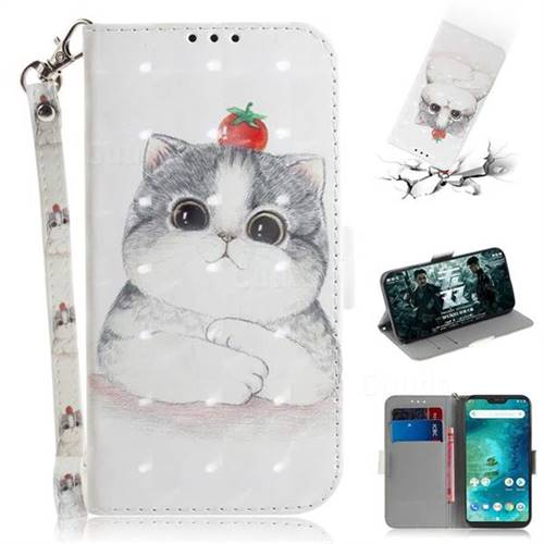 Cute Tomato Cat 3D Painted Leather Wallet Phone Case for Xiaomi Mi A2 Lite (Redmi 6 Pro)