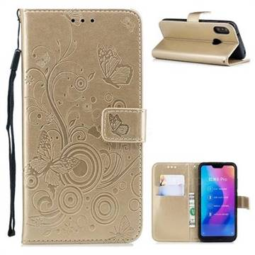 Intricate Embossing Butterfly Circle Leather Wallet Case for Xiaomi Mi A2 Lite (Redmi 6 Pro) - Champagne