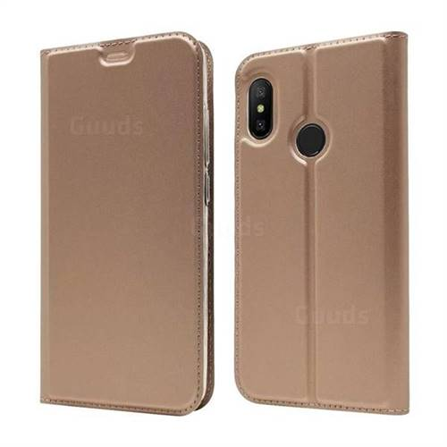 Ultra Slim Card Magnetic Automatic Suction Leather Wallet Case for Xiaomi Mi A2 Lite (Redmi 6 Pro) - Rose Gold