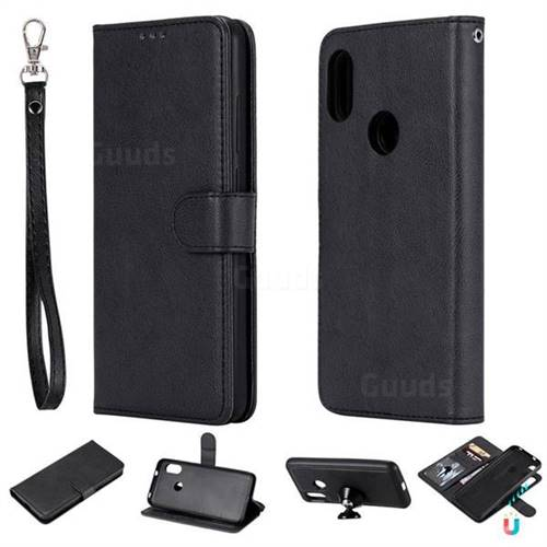 Retro Greek Detachable Magnetic PU Leather Wallet Phone Case for Xiaomi Mi A2 Lite (Redmi 6 Pro) - Black