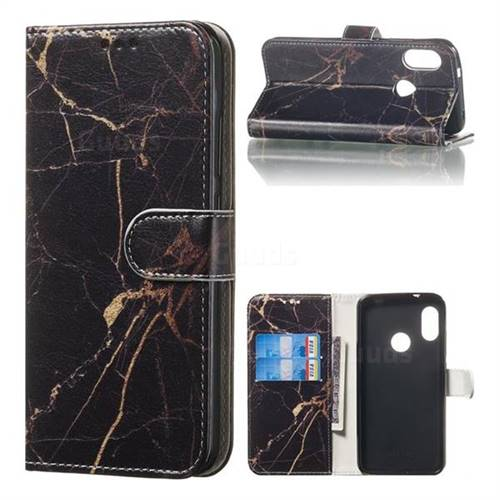 Black Gold Marble PU Leather Wallet Case for Xiaomi Mi A2 Lite (Redmi 6 Pro)