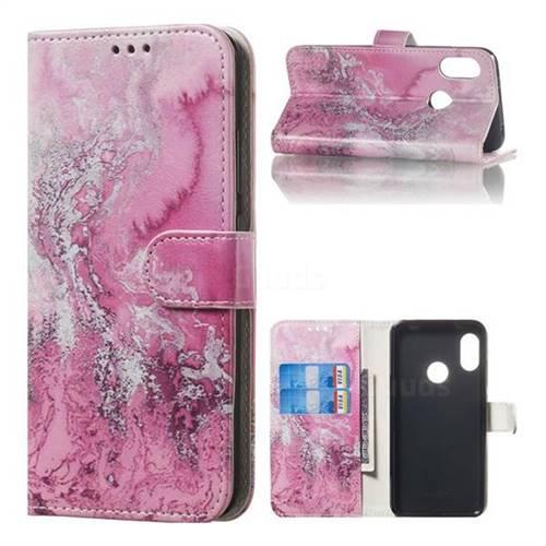 Pink Seawater PU Leather Wallet Case for Xiaomi Mi A2 Lite (Redmi 6 Pro)