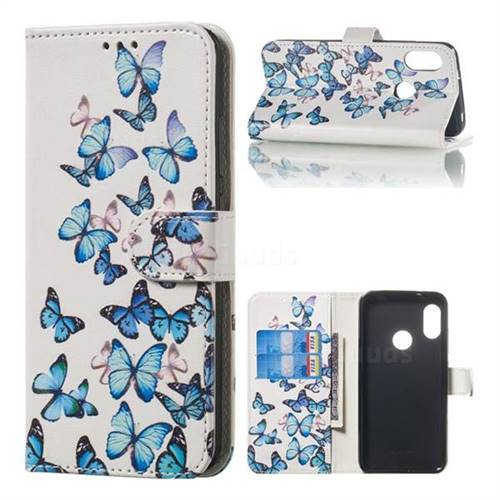 Blue Vivid Butterflies PU Leather Wallet Case for Xiaomi Mi A2 Lite (Redmi 6 Pro)