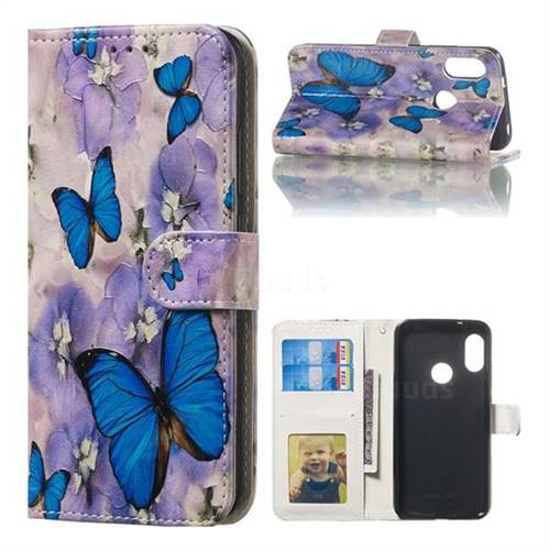 Purple Flowers Butterfly 3D Relief Oil PU Leather Wallet Case for Xiaomi Mi A2 Lite (Redmi 6 Pro)