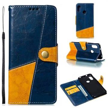 Retro Magnetic Stitching Wallet Flip Cover for Xiaomi Mi A2 Lite (Redmi 6 Pro) - Blue
