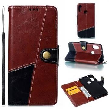 Retro Magnetic Stitching Wallet Flip Cover for Xiaomi Mi A2 Lite (Redmi 6 Pro) - Dark Red