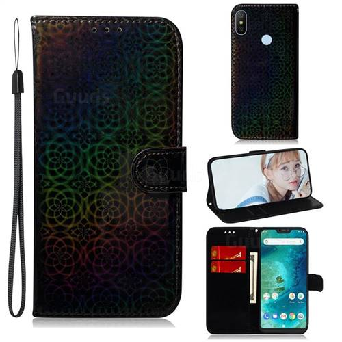 Laser Circle Shining Leather Wallet Phone Case for Xiaomi Mi A2 Lite (Redmi 6 Pro) - Black