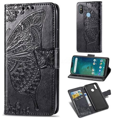 Embossing Mandala Flower Butterfly Leather Wallet Case for Xiaomi Mi A2 Lite (Redmi 6 Pro) - Black