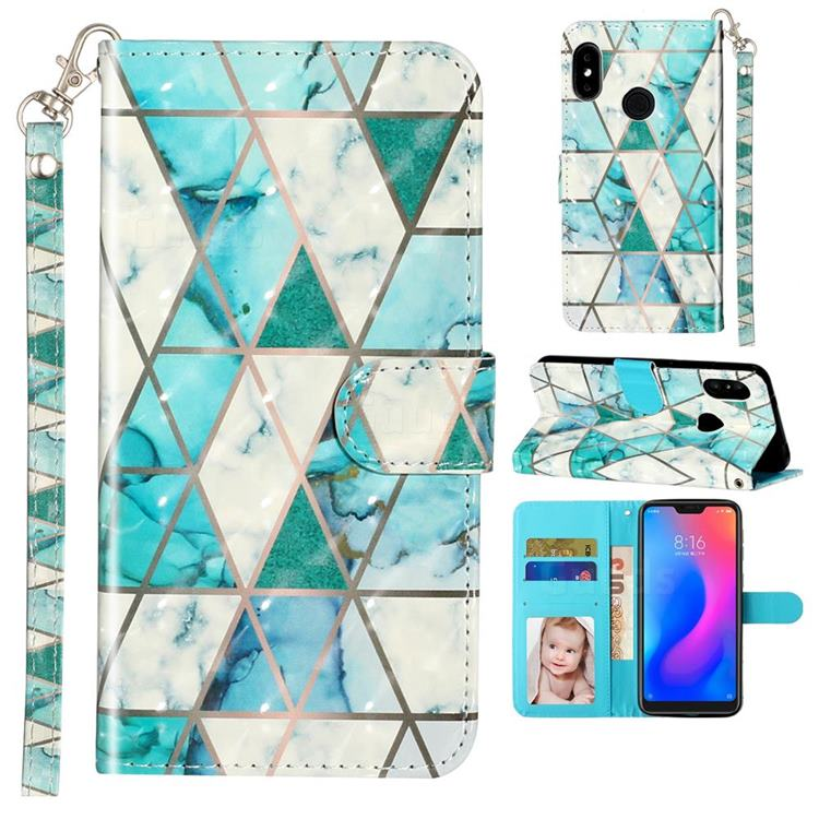 Stitching Marble 3D Leather Phone Holster Wallet Case for Xiaomi Mi A2 Lite (Redmi 6 Pro)