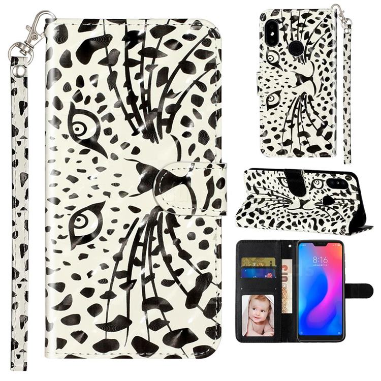 Leopard Panther 3D Leather Phone Holster Wallet Case for Xiaomi Mi A2 Lite (Redmi 6 Pro)