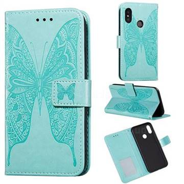 Intricate Embossing Vivid Butterfly Leather Wallet Case for Xiaomi Mi A2 Lite (Redmi 6 Pro) - Green