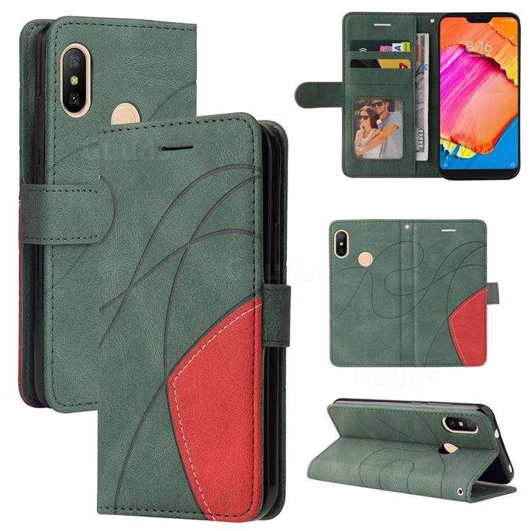 Luxury Two-color Stitching Leather Wallet Case Cover for Xiaomi Mi A2 Lite (Redmi 6 Pro) - Green