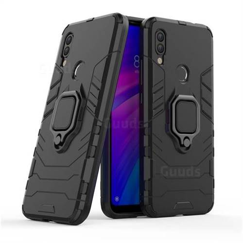 Black Panther Armor Metal Ring Grip Shockproof Dual Layer Rugged Hard Cover for Mi Xiaomi Redmi 7 - Black