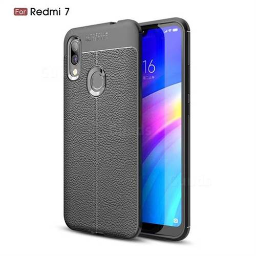 Luxury Auto Focus Litchi Texture Silicone TPU Back Cover for Mi Xiaomi Redmi 7 - Black