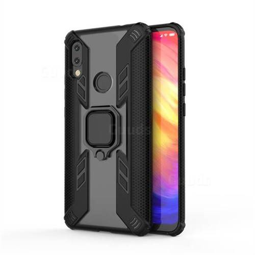 Predator Armor Metal Ring Grip Shockproof Dual Layer Rugged Hard Cover for Mi Xiaomi Redmi 7 - Black