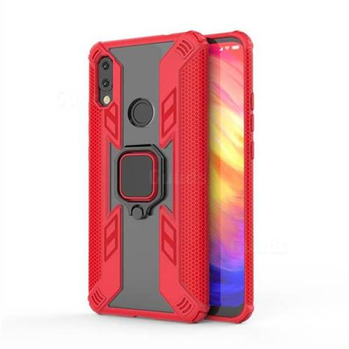 Predator Armor Metal Ring Grip Shockproof Dual Layer Rugged Hard Cover for Mi Xiaomi Redmi 7 - Red