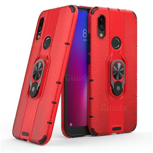 Alita Battle Angel Armor Metal Ring Grip Shockproof Dual Layer Rugged Hard Cover for Mi Xiaomi Redmi 7 - Red
