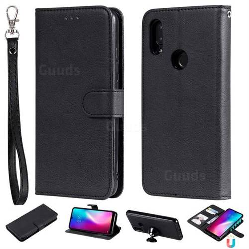 Retro Greek Detachable Magnetic PU Leather Wallet Phone Case for Mi Xiaomi Redmi 7 - Black