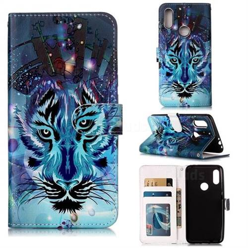 Ice Wolf 3D Relief Oil PU Leather Wallet Case for Mi Xiaomi Redmi 7