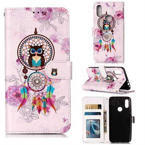 Wind Chimes Owl 3D Relief Oil PU Leather Wallet Case for Mi Xiaomi Redmi 7