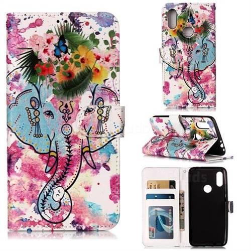 Flower Elephant 3D Relief Oil PU Leather Wallet Case for Mi Xiaomi Redmi 7