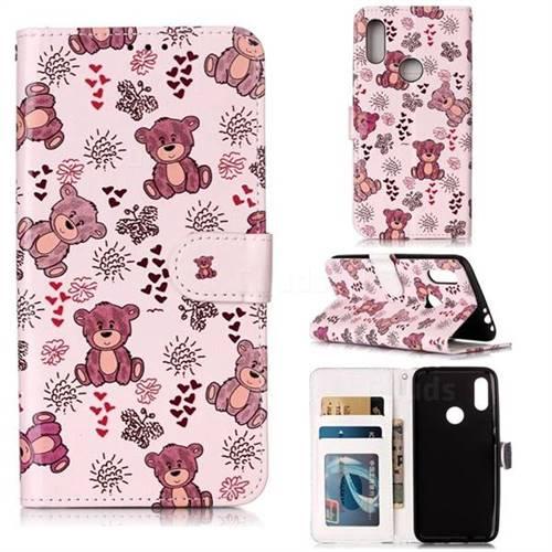 Cute Bear 3D Relief Oil PU Leather Wallet Case for Mi Xiaomi Redmi 7