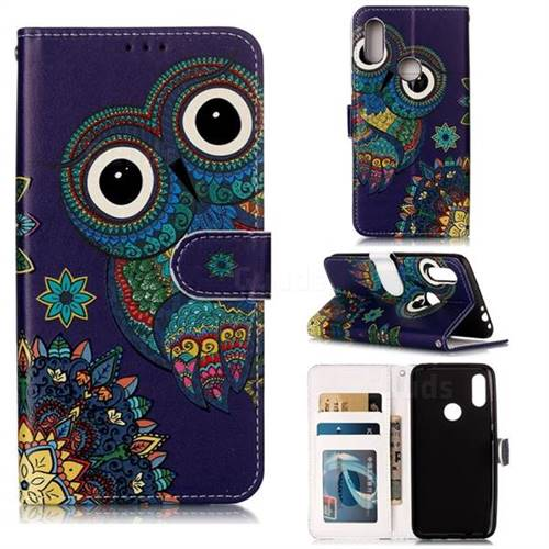 Folk Owl 3D Relief Oil PU Leather Wallet Case for Mi Xiaomi Redmi 7