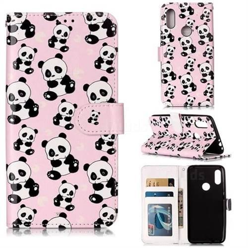 Cute Panda 3D Relief Oil PU Leather Wallet Case for Mi Xiaomi Redmi 7