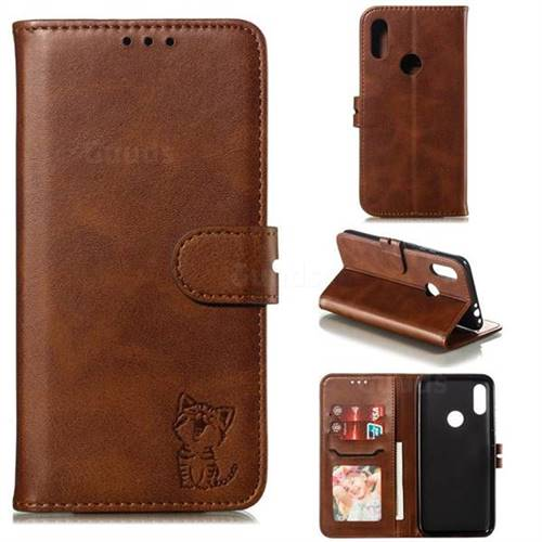 Embossing Happy Cat Leather Wallet Case for Mi Xiaomi Redmi 7 - Brown