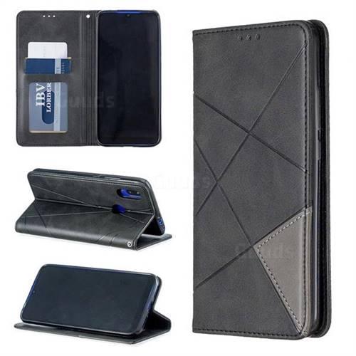 Prismatic Slim Magnetic Sucking Stitching Wallet Flip Cover for Mi Xiaomi Redmi 7 - Black
